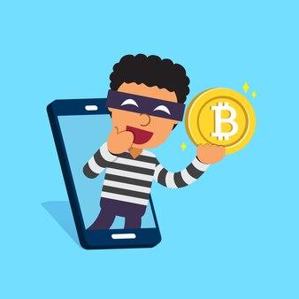 Cryptocurrency-konzeptdieb mit smartphone und geld