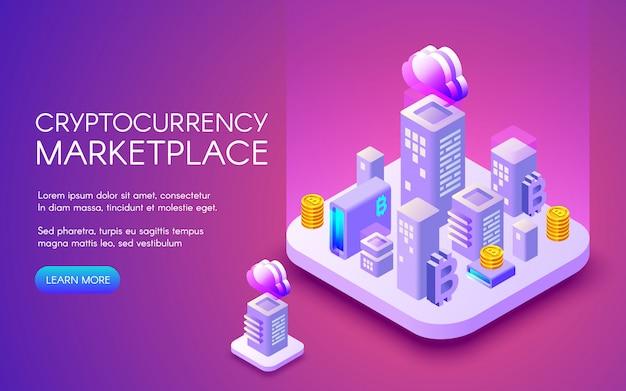 Cryptocurrency-marktplatzillustration von bitcoin bergbaubauernhof in der intelligenten stadt