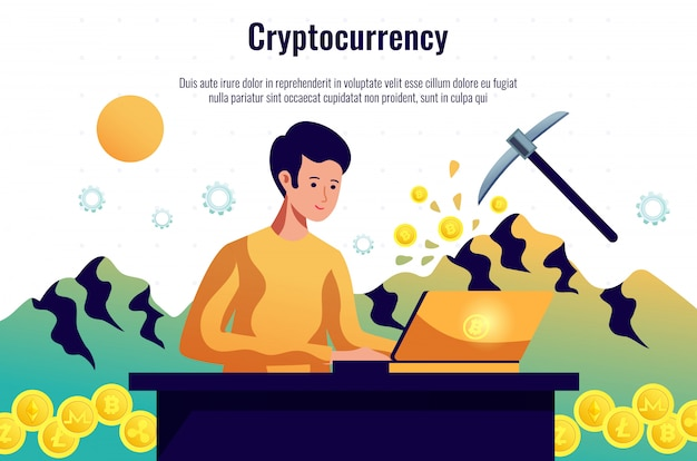 Cryptocurrency miner, der ein blockchain-netzwerk unterhält, das mit computersoftware arbeitet