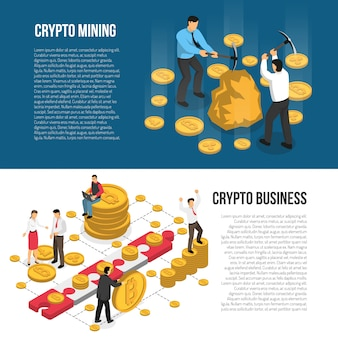 Cryptocurrency mining business isometric banners