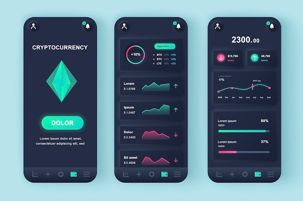 Cryptocurrency mining moderne neumorphic design ui mobile app