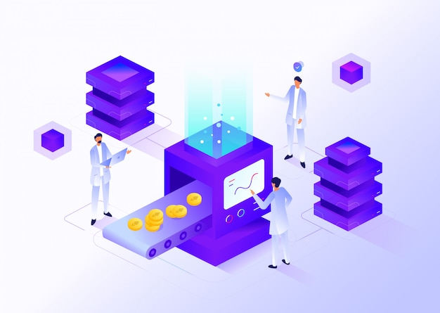 Cryptocurrency mining worker modernes isometrisches design