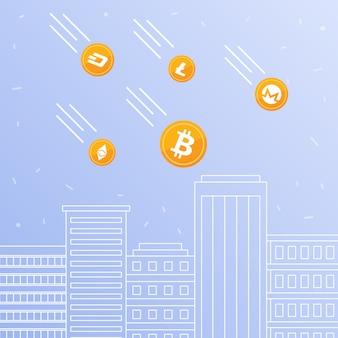 Cryptocurrency-münzen, die zu den im stadtzentrum gelegenen wolkenkratzern fallen.