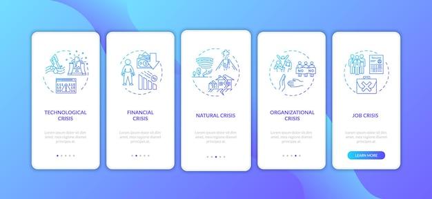 Crysis-typen onboarding-seitenbildschirm für mobile apps mit konzepten. globale katastrophen, notfallsituationen führen durch fünf schritte grafische anweisungen. ui-vektorvorlage mit rgb-farbabbildungen.