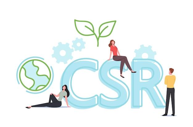 Csr, corporate social responsibility, tiny characters. ethische und ehrliche geschäftsstrategie für nachhaltiges wirtschaften