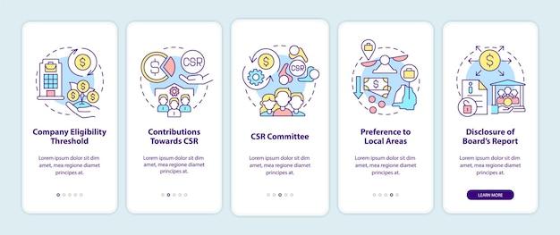 Csr-grundlagen beim onboarding der mobilen app-seitenseite. corporate social responsibility walkthrough 5 schritte grafische anweisungen mit konzepten. ui-, ux-, gui-vektorvorlage mit linearen farbillustrationen