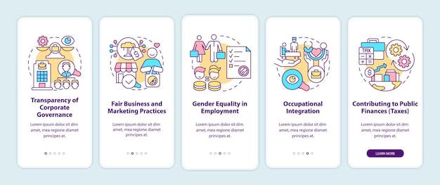 Csr ist wichtig beim onboarding der seite der mobilen app. corporate social responsibility walkthrough 5 schritte grafische anweisungen mit konzepten. ui-, ux-, gui-vektorvorlage mit linearen farbillustrationen