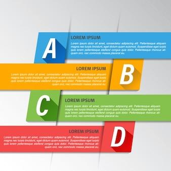 Cuatro opciones geométricas para una infografia