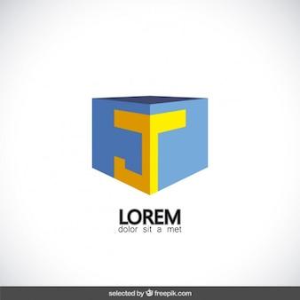 Cube-logo mit buchstaben j