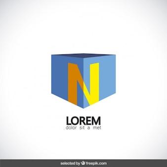 Cube-logo mit buchstaben n