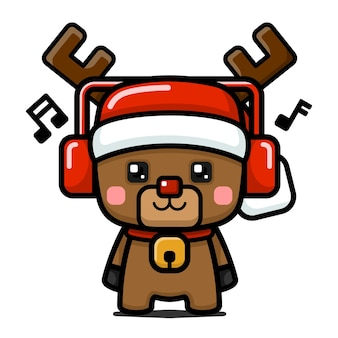 Cube style cute christmas rentier mit kopfhörer