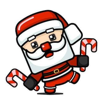 Cube style cute santa claus holding candy can