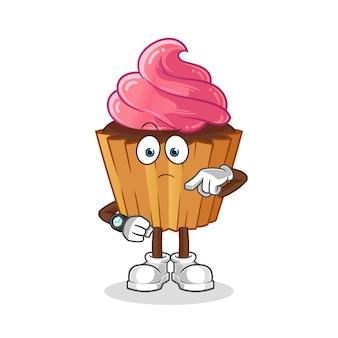 Cup cake mit armbanduhr cartoon. cartoon maskottchen