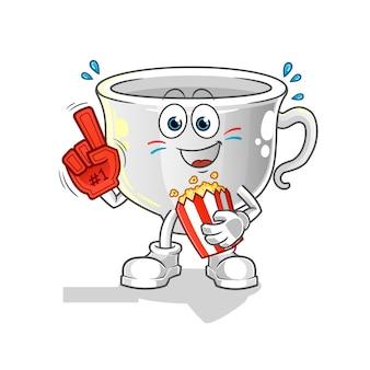 Cup fan mit popcorn illustration. charakter