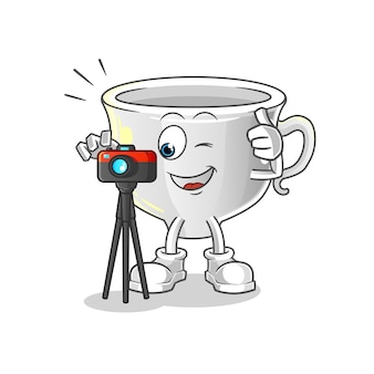 Cup fotograf charakter. cartoon maskottchen