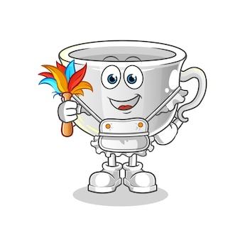 Cup maid maskottchen. karikatur