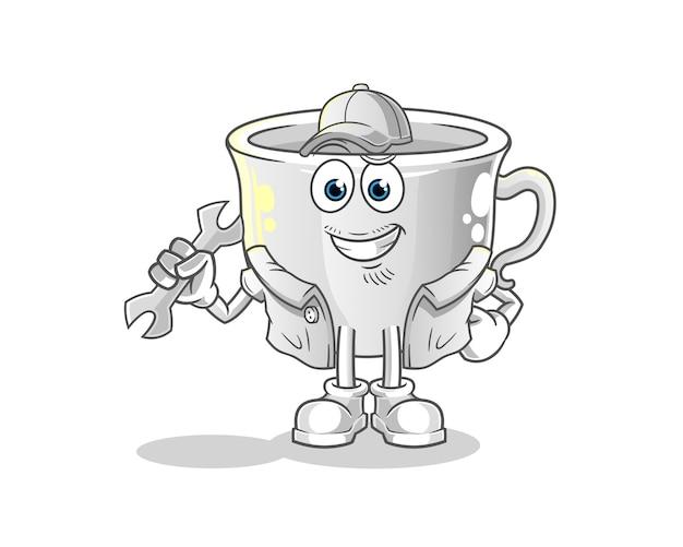 Cup mechaniker cartoon. cartoon maskottchen