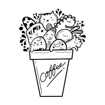 Cup niedlichen monster kritzeleien