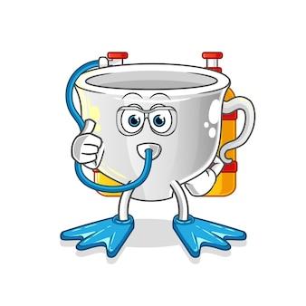 Cup taucher maskottchen. karikatur