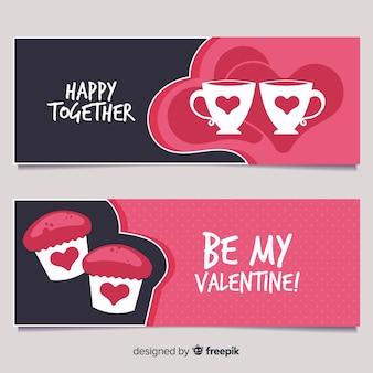 Cup- und cupcake-valentinsgrußfahne