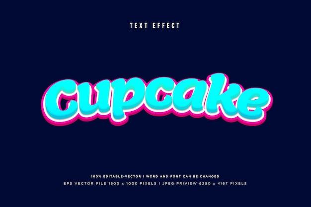 Cupcake 3d-texteffekt auf marinehintergrund