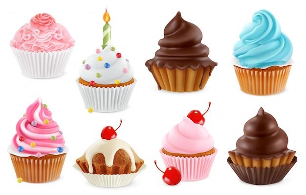 Cupcake, feenkuchen. 3d realistisches symbol gesetzt