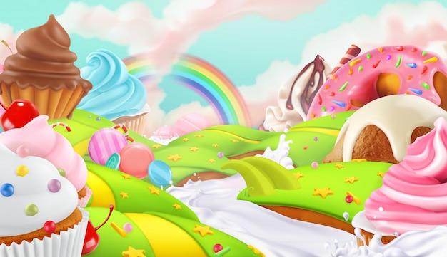 Cupcake, feenkuchen. süße landschaft