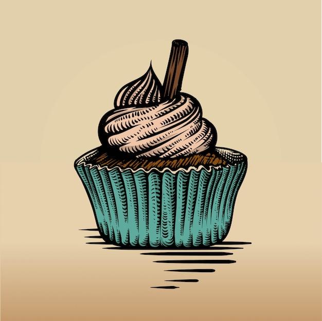 Cupcake im gravurstil