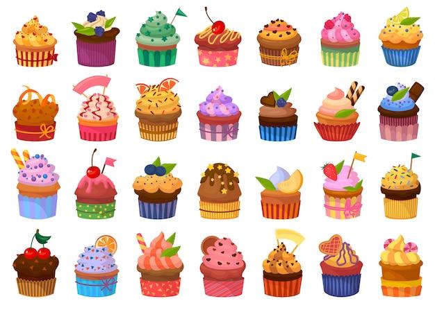 Cupcake isolierte karikatursatzikone. illustration muffin.