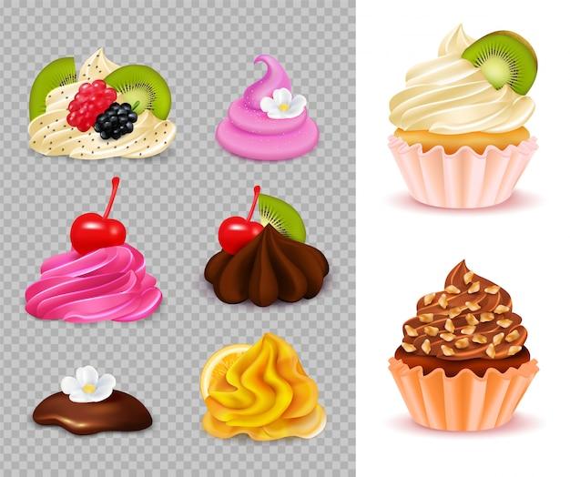 Cupcake-konstrukteur mit verschiedenen appetitlichen belägen auf transparenten und 2 fertigen desserts realistisch