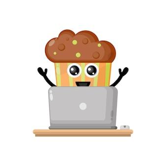 Cupcake laptop niedlichen charakter maskottchen