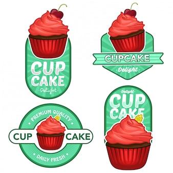 Cupcake logo lager vektor festgelegt