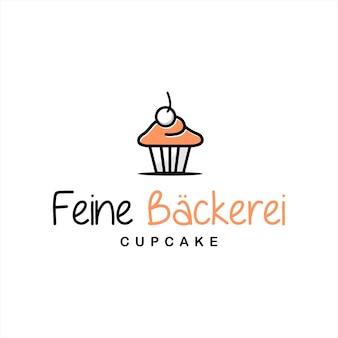 Cupcake-logo-spaß moderner muffin-vektor