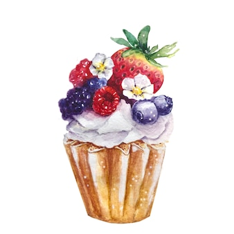 Cupcake mit erdbeeren und blaubeeren