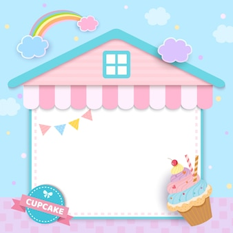 Cupcake mit hausrahmen für menüvorlage