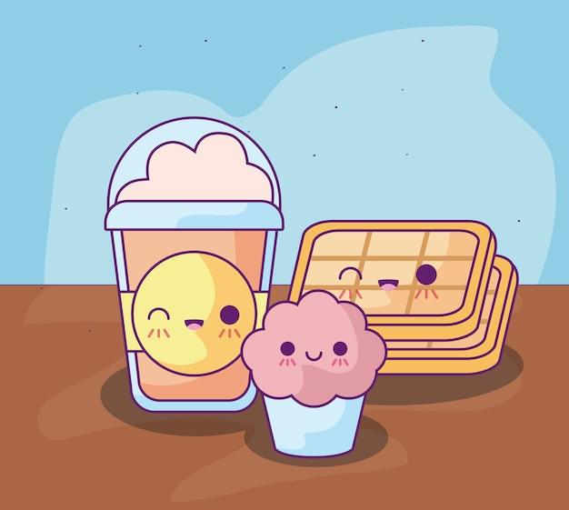 Cupcake mit leckerem essen kawaii stil