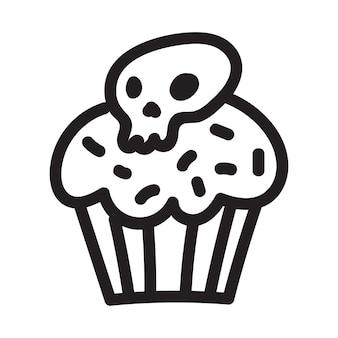 Cupcake mit schädel-doodle-zeichnung. symbol geeignet für logo, musterdesign. vektor-illustration.