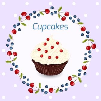 Cupcake mit schlagsahne. geburtstag