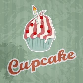 Cupcake-retro-hintergrund. vektor-illustration