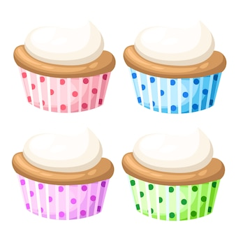 Cupcake set isoliert kuchen sammlung süße süßigkeiten cupcakes, die appetitlich aussehen. bunte cupcakes lokalisiert in weiß