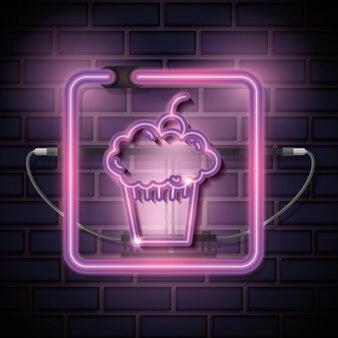Cupcake süße neon-label