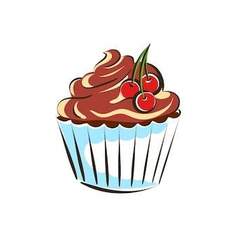 Cupcake-torte mit schokoladencreme verziert mit drei kirschen vektorillustrationsskizze