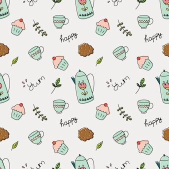 Cupcake und tee gekritzel hintergrund vektor-illustration