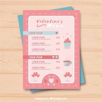 Cupcake valentine menüvorlage