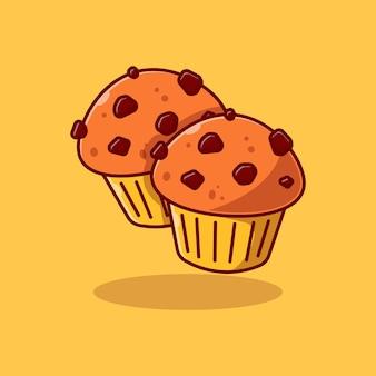 Cupcake-vektor-illustration-design mit schokoladenstückchen-topping