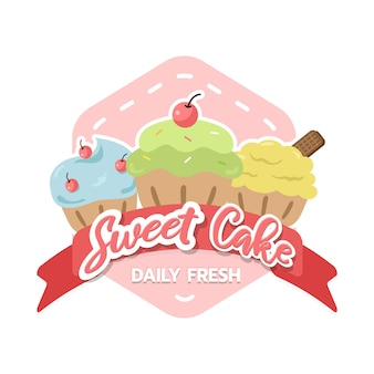 Cupcakes bäckerei symbol logo design-vorlage