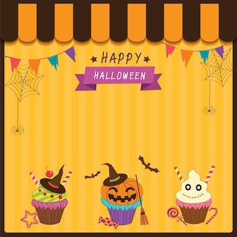 Cupcakes für halloween-party auf orangem hintergrund dekoriert.