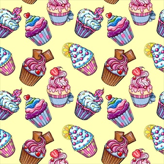 Cupcakes nahtloses muster