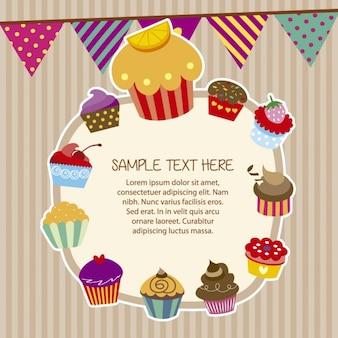 Cupcakes rahmen in bunten stil