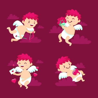 Cupid charakter-kollektion im flachen design